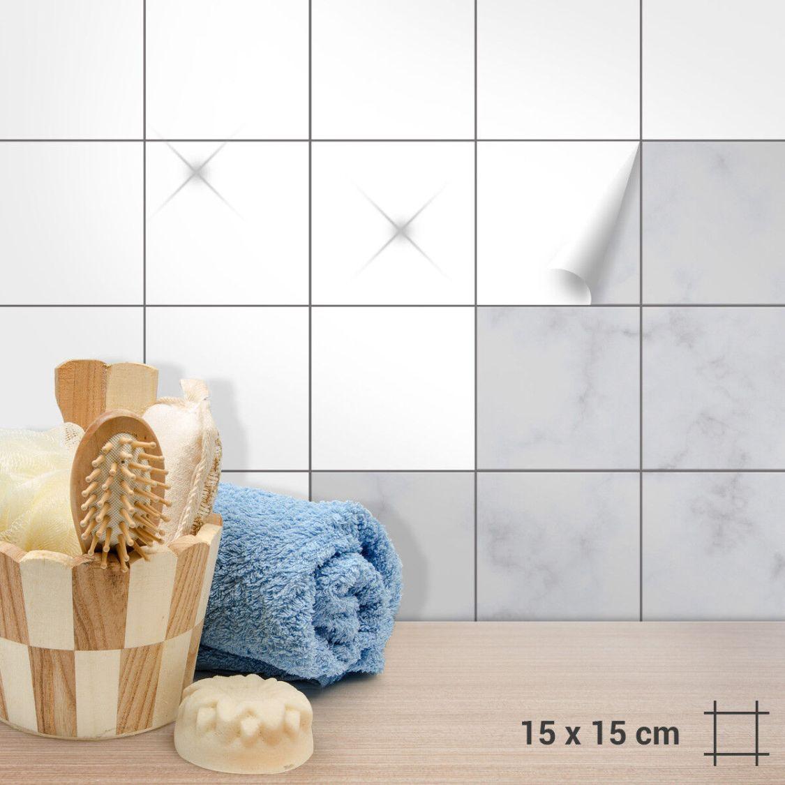 Fliesenaufkleber 15 x 15 cm Weiß Matt Glänzend Küche Badezimmer Bad Aufkleber