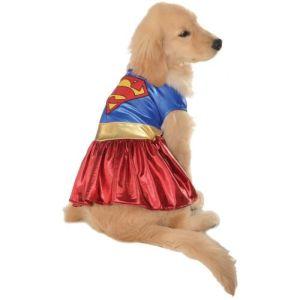 Supergirl Pet Costume Dog Superwoman Halloween Fancy Dress