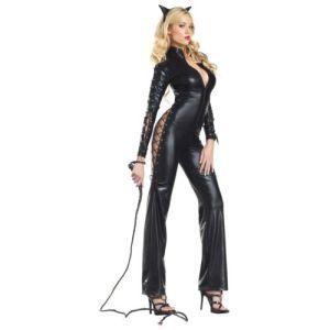 Cat Woman Costume Adult Sexy Black Kitty Halloween Fancy Dress