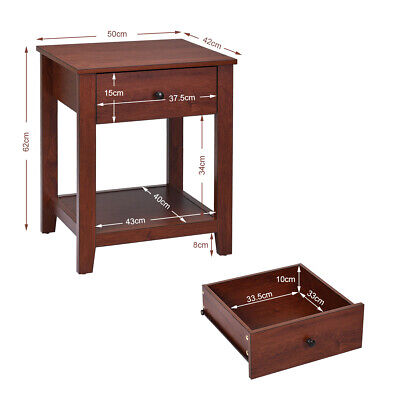 2-Set Nightstand Sofa Side Table Display Stand Multipurpose Bedside w/ Drawer 1