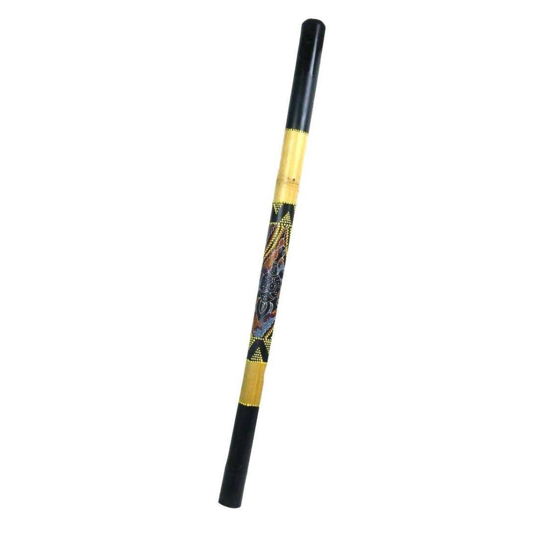 Didgeridoo Bambus Holz Aborigini bemalt geschnitzt Instrument fair Dot Painting