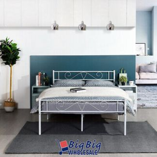 Full Size Metal Bed Frame White Mattress Foundation with Headboard Footboard