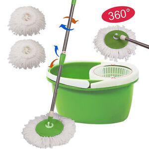 360° Rotating Head Easy Magic Floor Mop Bucket 2 Head Microfiber Spinning Green