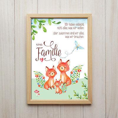 Fuchs Familie Kunstdruck DIN A4 Spruch Tiere Bild Druck Kinderzimmer Dekoration