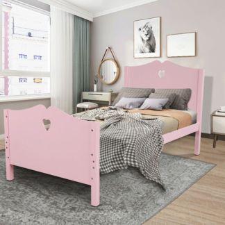 Twin Size Bedroom Platform Bed Frame & Woold Slats W/Headboard & Footboard Pink