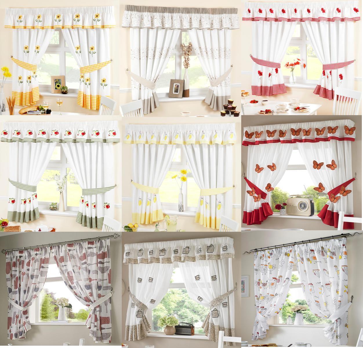 Ready Made Kitchen Window Curtains Inc Free Tiebacks Pelmets Sold Seperately Ebay