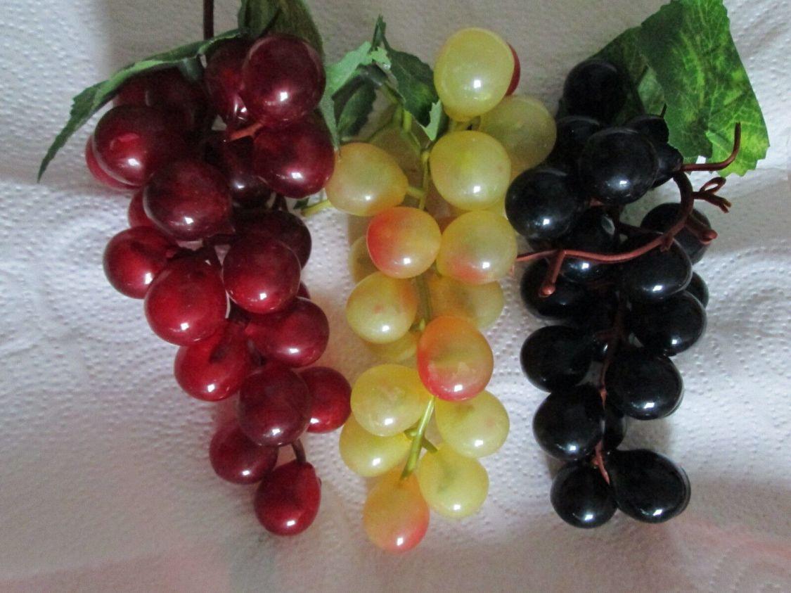 3 Weintrauben Reben Früchte 15cm Künstliche Kunst Pflanzen Kunst Obst Party Fest