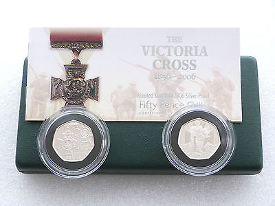 2006 Victoria Cross 150th Anniv 50p Fifty Pence Silver Proof 2 Coin Set Box Coa