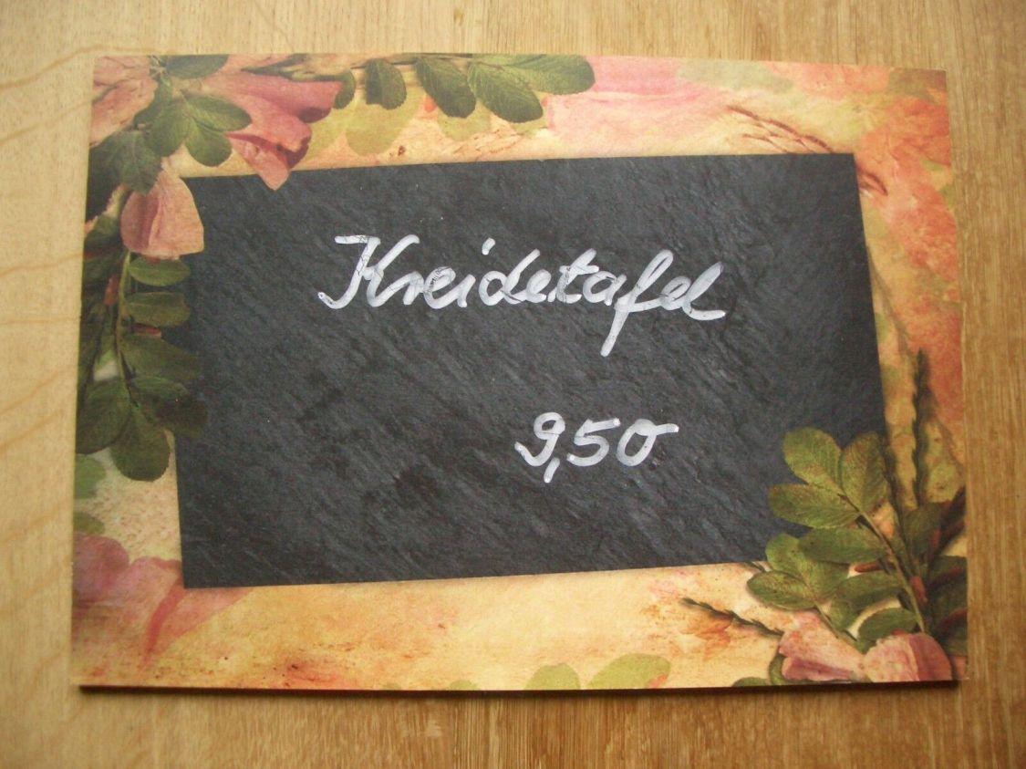 Kreidetafel -  Küche - Memotafel  - Heckenrosen -  30 x 21 cm