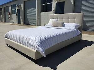 New Fabric Bed Frame Clearance King Or Queen Size Natural Stone Moffat Beach Caloundra Area Preview