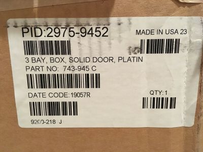 *NIB* *New* Simplex 2975-9452 Fire Alarm 3 Bay Box Solid Door 743-945