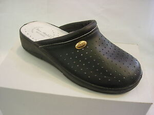 Black White Navy Leather Kitchen Clogs Nurses Theater Mules Comfort