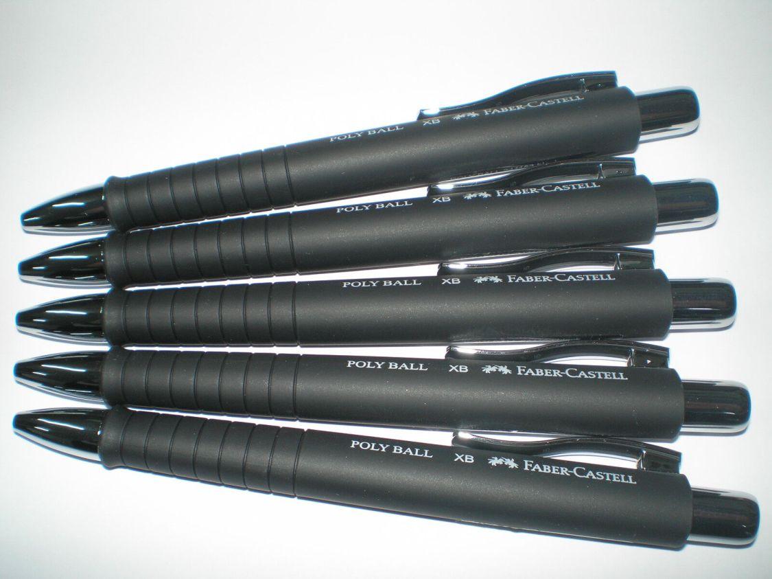5x FABER-CASTELL Kugelschreiber POLY-BALL XB schwarz 241153 Ballpoint Pen NEU