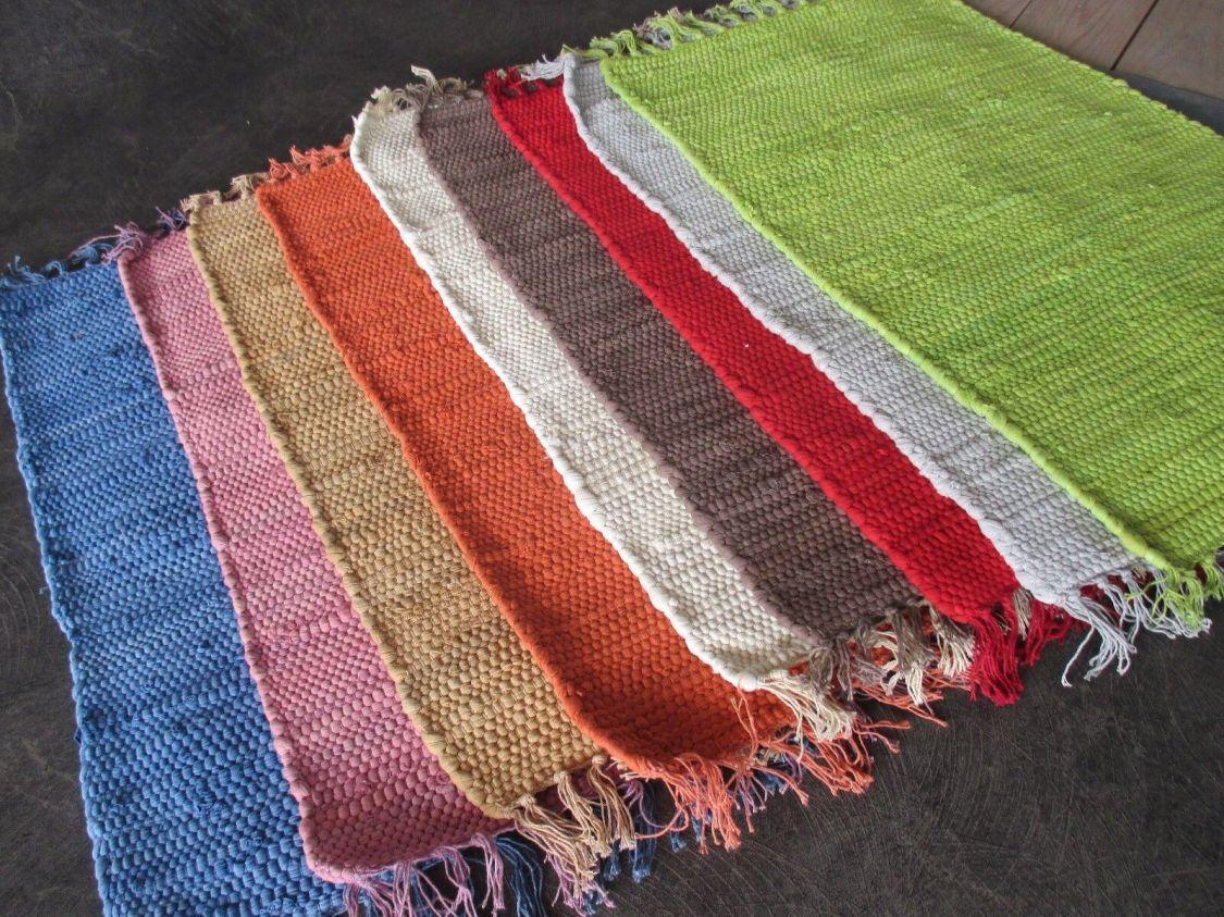 Handweb Teppich Fleckerl in 9 Uni Farben versch. Größen