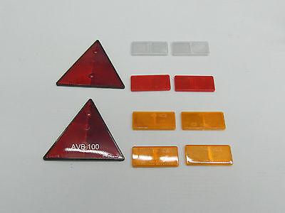 Reflektoren/ Rückstrahlerset f PKW Anhänger 10 tlg rot/orange/ weiss eckig   101
