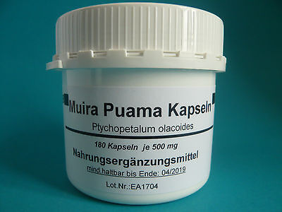 Muira Puama 180 vegi Kapseln (25,33 € /100g) Potenzholz Ptychopetalum oleacoides