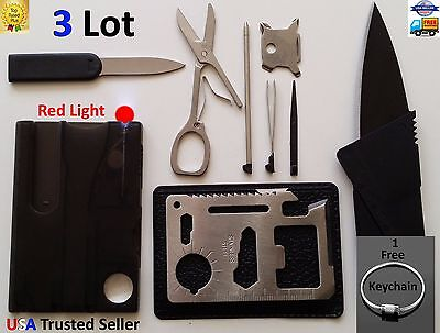 Credit Card Knives 11 in 1 Multi tools 3 Lot wallet thin pocket survival knife