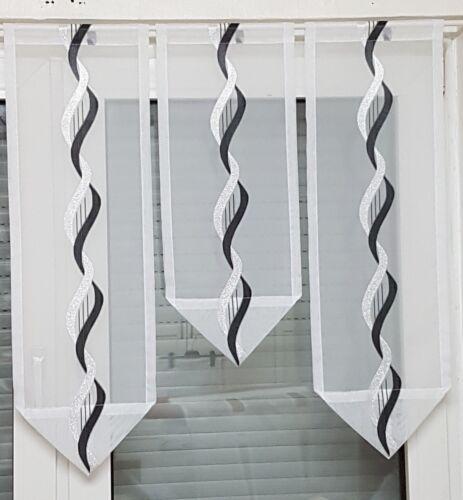 Scheibengardine 3tlg schwarz -weiß-silber