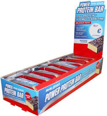 (24,64€/Kg) Body Attack Power Protein Bar Proteinriegel 24x 35g + Riegel gratis