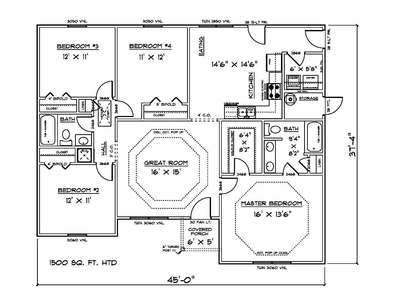 House Plans For Sq Ft 4 Bedroom House