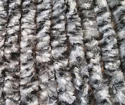 Flauschvorhang Türvorhang Fliegenschutz dunkelgrau-graumel Chenille 56 x 185 cm