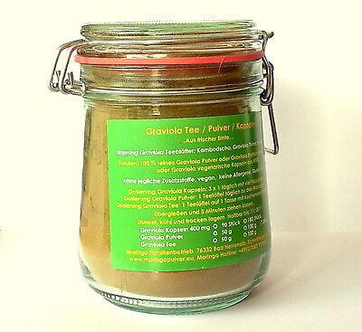 500 g Graviola Frucht Pulver Tee naturbelassen Rohkost Qualität im Bügelglas
