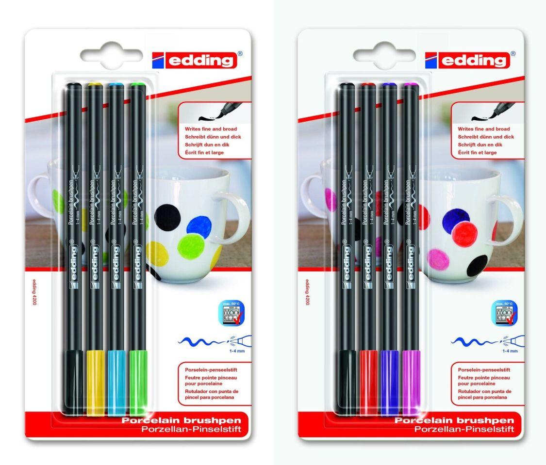 edding 4200 Porzellanstift Pinselstift Keramikpen 1-4mm Blister wählbar