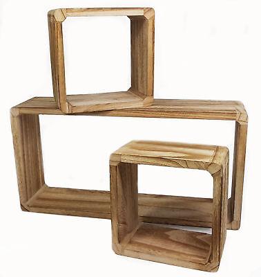 Holz Wandregal 3er Set - Wandregal + 2x Würfelregal - Hängeregal Schwebe Regal