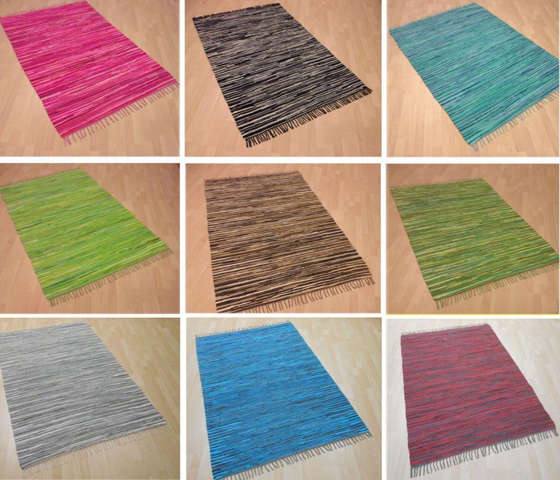 Handwebteppich gestreift 100% Baumwolle Handweb Teppich Fleckerl Waschbar NEU