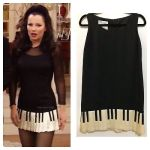 MOSCHINO Vintage 1990s Piano Key Black Shift Dress Fran Drescher Size 10