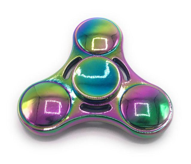 Metal Rainbow Scarab ovale bouclier Fidget Main Doigt Spinner Avec
