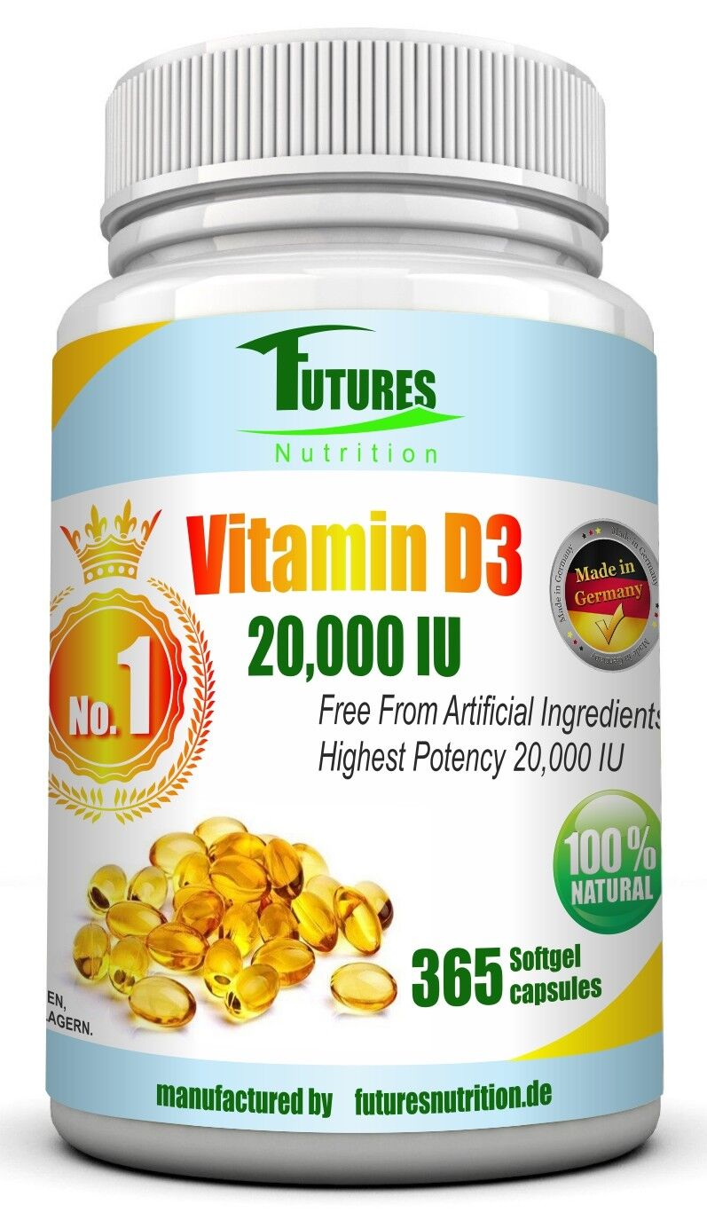 Vitamin D3 20000IU Super stark 365 softgel hochdosiert 20.000IU per kapseln.
