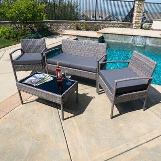 Patio Wicker Furniture Outdoor 4Pcs Rattan Sofa Garden Conversation Set, Gray