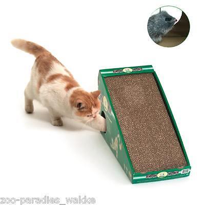 Katzen Kratzbrett mit Maus + Catnip / Katzenminze - Kratzpappe Spielzeug - 46092