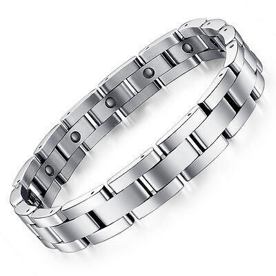 Schmuck Edelstahl Silber Magnetarmband Herren Magnet Hämatit Armband 23cm -S8012