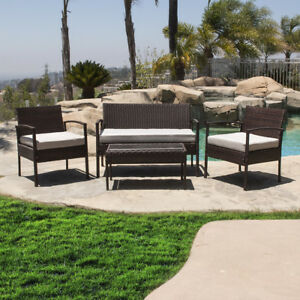 Pc Outdoor Wicker Patio Set Sectional Cushioned Furniture Rattan Garden Brown