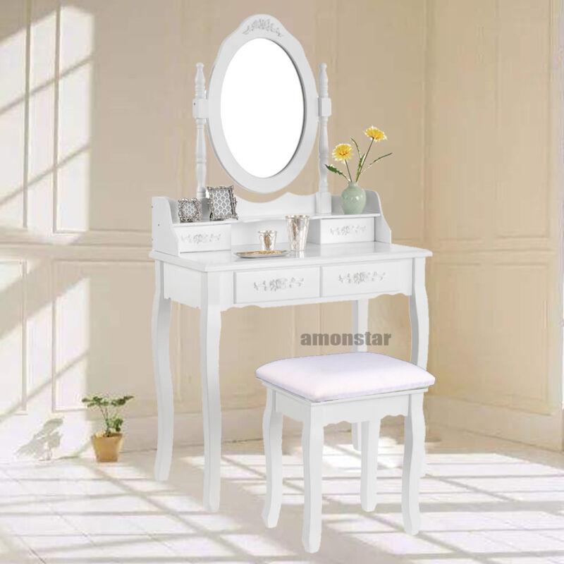 Weiß Schminktisch Hocker Kosmetiktisch Frisierkommode Frisiertisch Spiegel