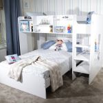 Wizard White Wooden L Shape Triple Sleeper Bunk Bed Frame With Shelf Storage Ebay