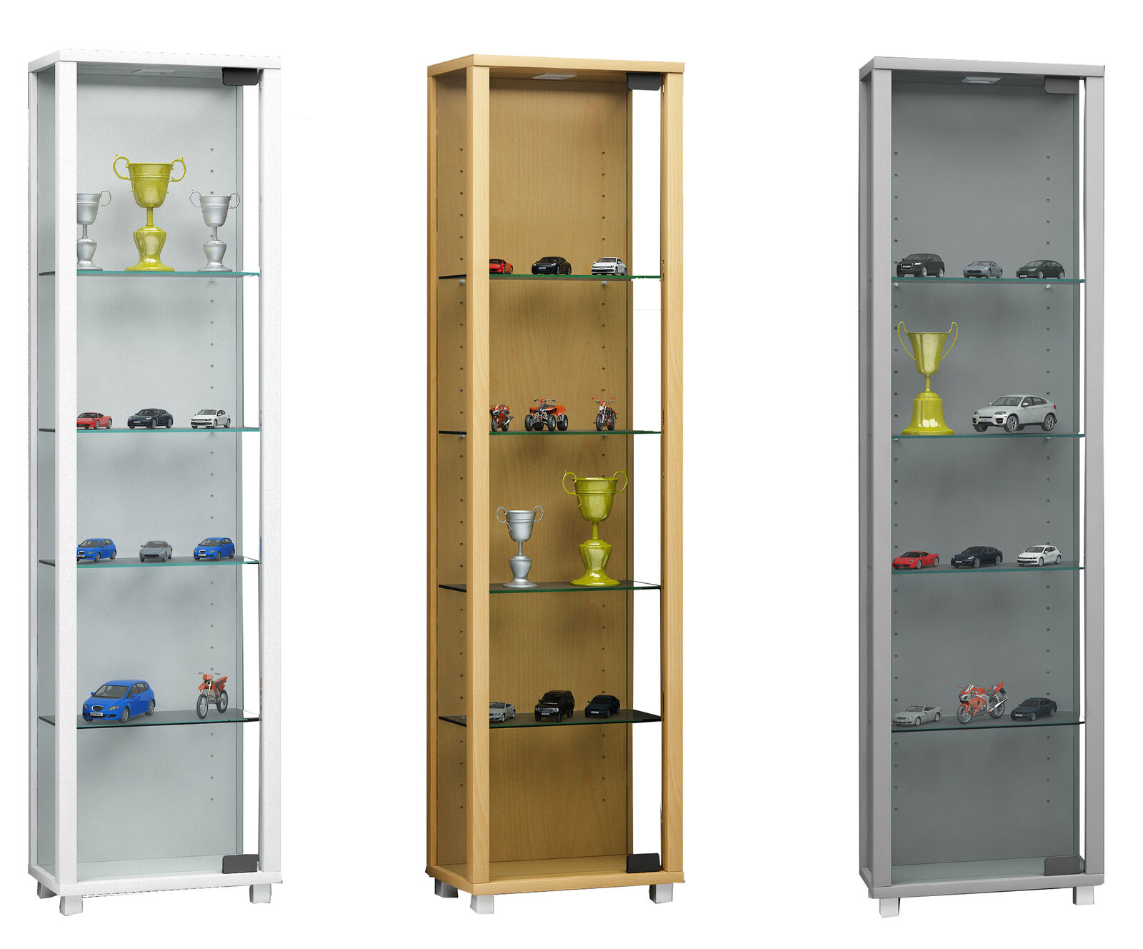 Details About Tall Glass Display Cabinet Floor Standing Toys Vapes Narrow With 4 Glass Shelves