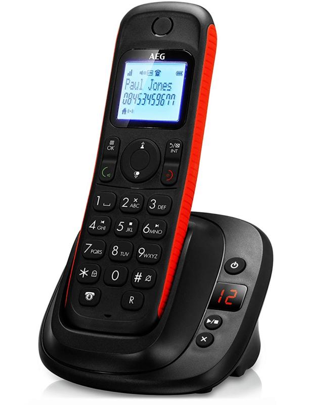 AEG Thor 15 Schnurloses Telefon DECT + Anrufbeantworter Schnurlostelefon schwarz