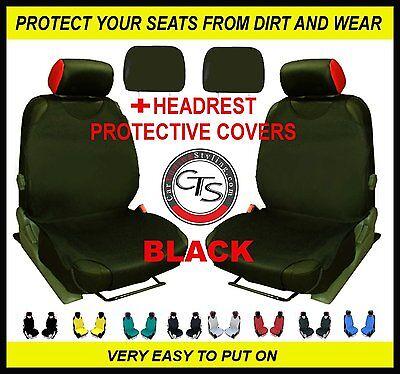 2 X Auto Sitz Bezug T-Shirt Weste Vorne + Kopfstütze Schwarz Fiat Scudo