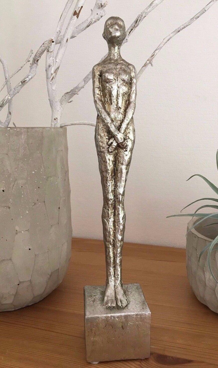 Frauenskulptur Silber Antik Skulptur nackte Frau Dekofigur moderne Kunst 32 cm