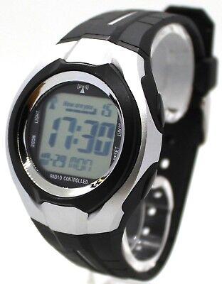 Herren Funkuhr digital Kunststoff Uhrband schwarz radio controlled watch