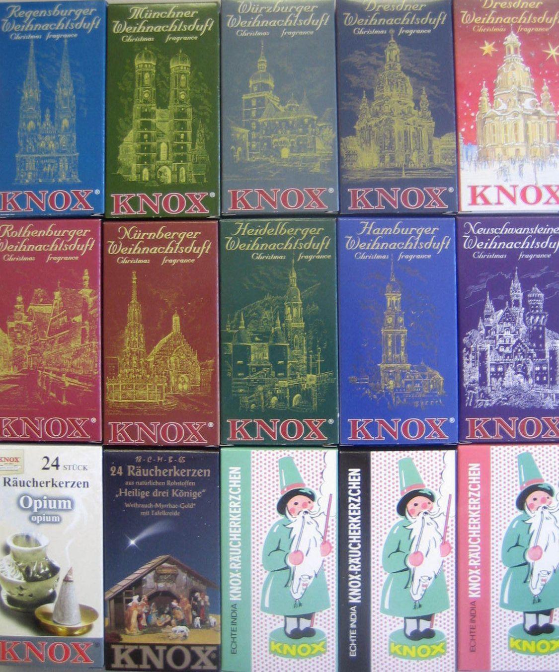 Original Knox Räucherkerzen Räucherkegel 24 Stück Packung Städte und Opium Wahl
