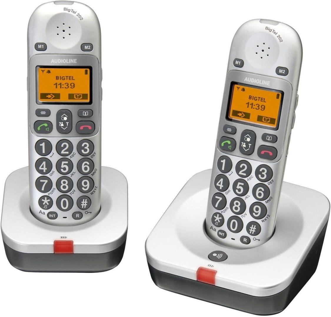 AUDIOLINE Powertel 202 schurloses Großtasten Telefon Senioren weiß/grau