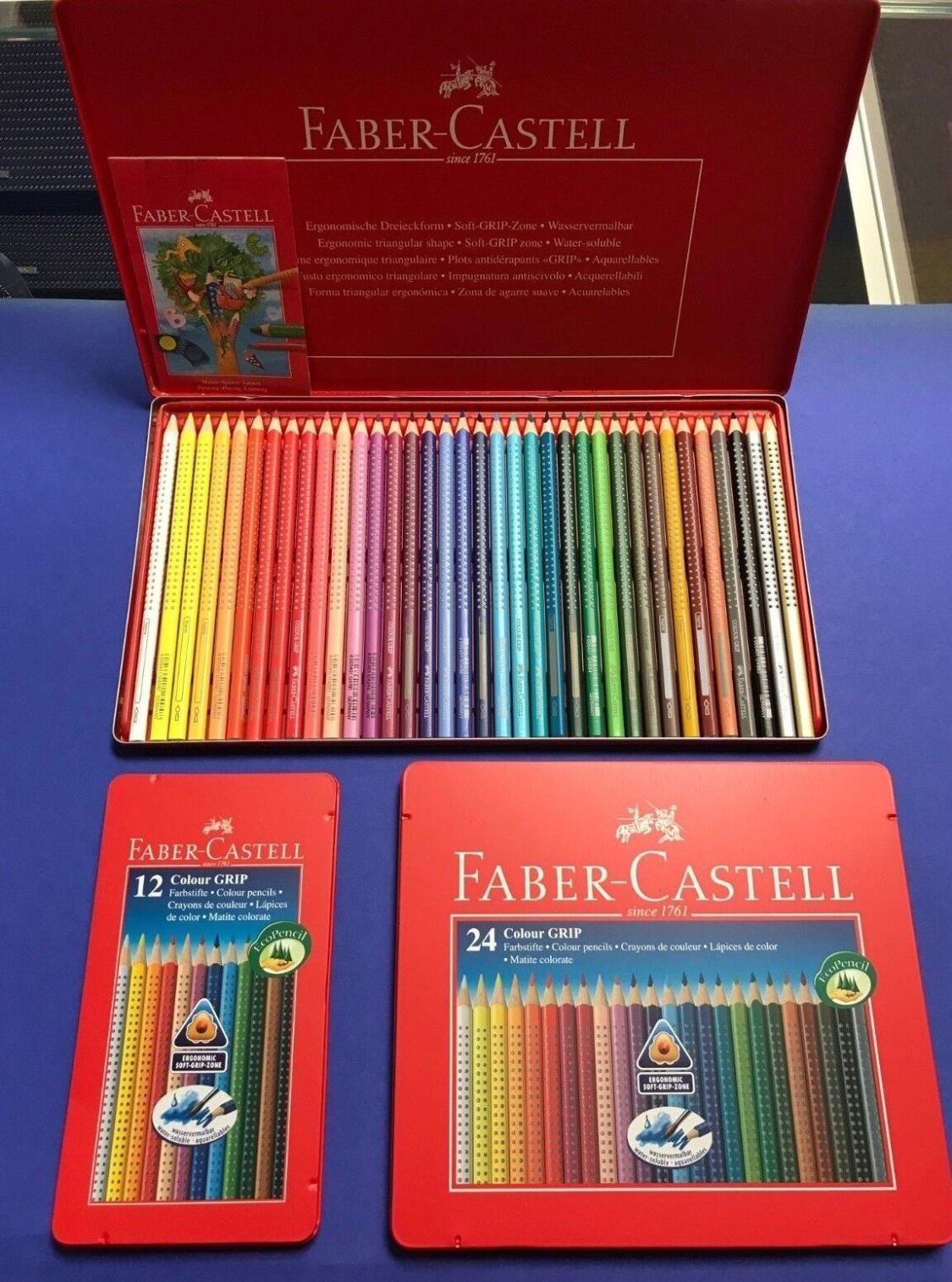 Faber Castell Colour Grip 12 er  24 und 36 iger Set Buntstifte Malen Metalletui