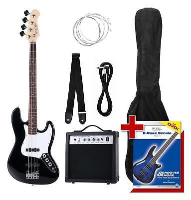 E-Bass Set komplett Bass Amp Gurt Kabel Plektrum Bassgitarre 2 Single-Coils