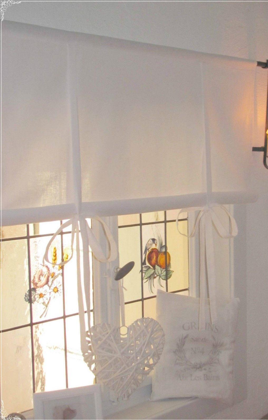 Gardine Raffrollo weiß 80/100/120/140/155 x 100 cm lang Landhaus Shabby Vintage