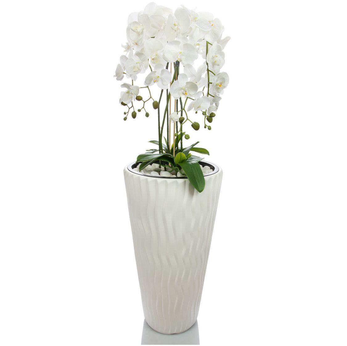 Künstliche Orchideen im Hochtopf 120cm weiß Gesteck Kunstpflanze Phalaenopsis  4