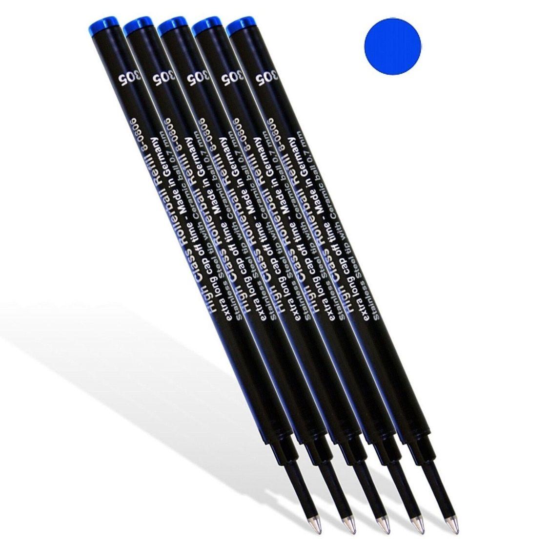 5 St - Tintenrollerminen - Rollerballminen - Tintenroller Mine - blau - NEU